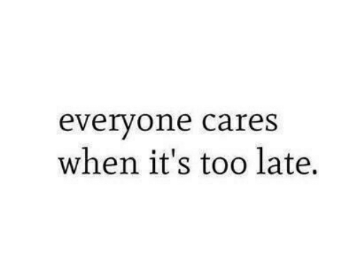 Everyone Cares, Everyone, and Too Late: everyone cares  when it's too late.