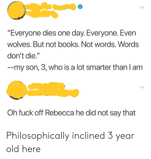 """Philosophically: """"Everyone dies one day. Everyone. Even  wolves. But not books. Not words. Words  don't die.""""  -my son, 3, who is a lot smarter than I am  Oh fuck off Rebecca he did not say that Philosophically inclined 3 year old here"""