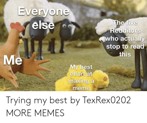 Dank, Meme, and Memes: Everyone  else  The five  Redditors  who actually  stop to read  this  Me  My best  effort at  making a  meme Trying my best by TexRex0202 MORE MEMES