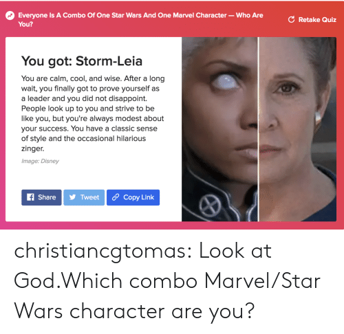 modest: Everyone Is A Combo Of One Star Wars And One Marvel Character- Who Are  You?  C Retake Quiz  You got: Storm-Leia  You are calm, cool, and wise. After a long  wait, you finally got to prove yourself as  a leader and you did not disappoint.  People look up to you and strive to be  like you, but you're always modest about  your success. You have a classic sense  of style and the occasional hilarious  zinger.  Image: Disney  f ShareTweet Copy Link christiancgtomas:  Look at God.Which combo Marvel/Star Wars character are you?
