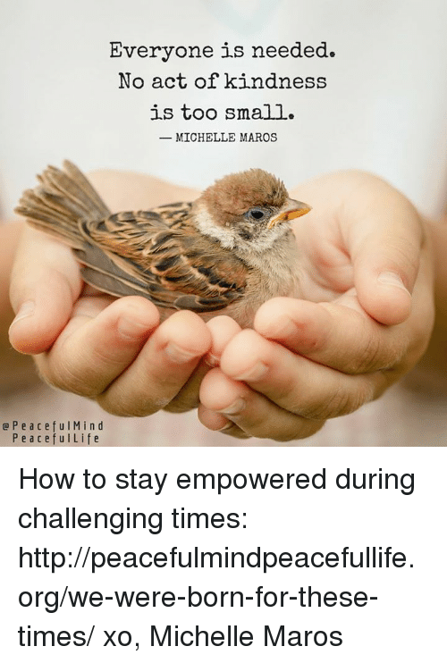 maro: Everyone is needed.  No act of kindness  is too small.  MICHELLE MAROS  e P e a c e f u l M i n d  P e a c e f u l Life How to stay empowered during challenging times:  http://peacefulmindpeacefullife.org/we-were-born-for-these-times/  xo, Michelle Maros