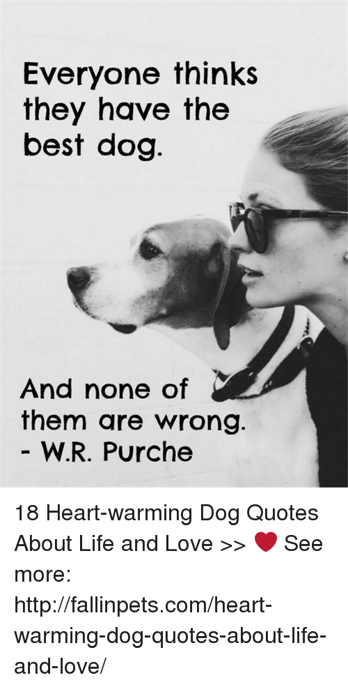 Life, Love, and Best: Everyone thinks  they have the  best dog  And none of  them are wrong.  W.R. Purche 18 Heart-warming Dog Quotes About Life and Love >>  ❤️ See more: http://fallinpets.com/heart-warming-dog-quotes-about-life-and-love/
