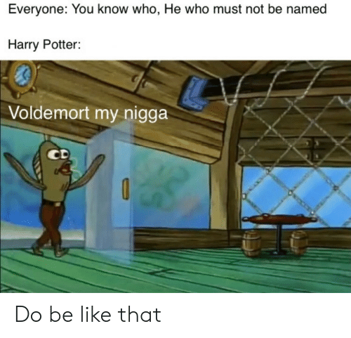 Be Like, Harry Potter, and My Nigga: Everyone: You know who, He who must not be named  Harry Potter:  Voldemort my nigga  CD Do be like that