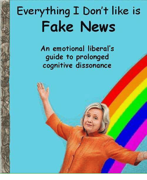 dissonance: Everything I Don't like is  Fake News  An emotional liberal's  guide to prolonged  cognitive dissonance