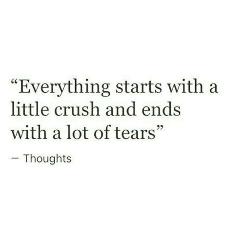 """Crush, Tears, and Everything: """"Everything starts with a  little crush and ends  with a lot of tears""""  Thoughts"""