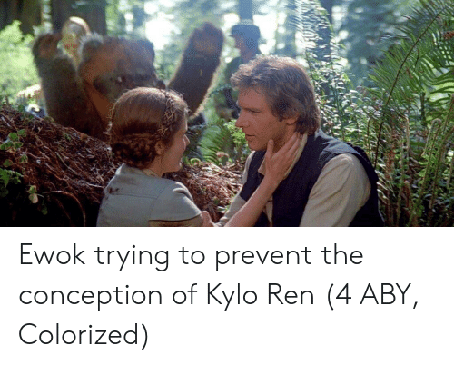 Kylo Ren: Ewok trying to prevent the conception of Kylo Ren (4 ABY, Colorized)