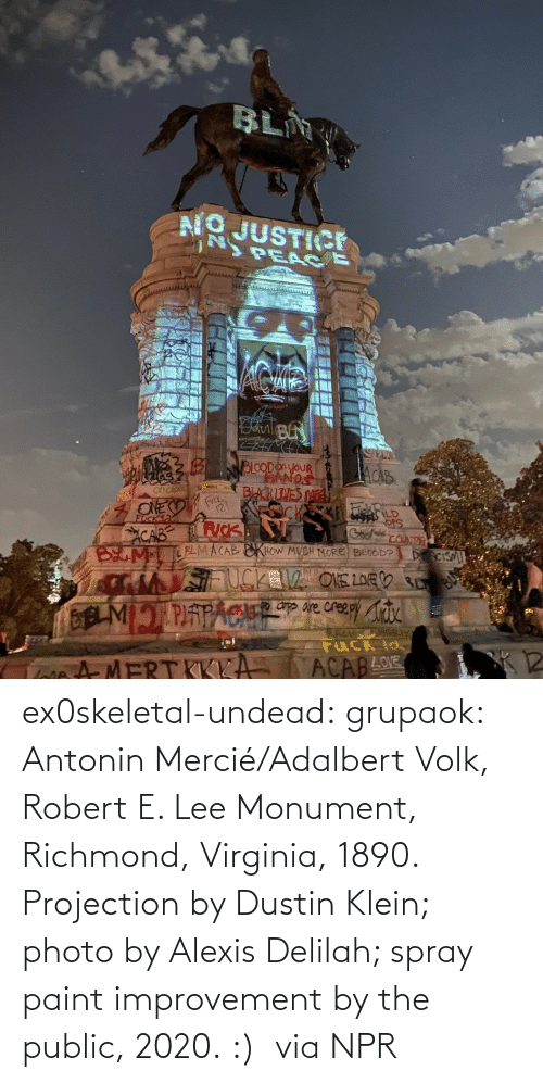 robert: ex0skeletal-undead: grupaok: Antonin Mercié/Adalbert Volk, Robert E. Lee Monument, Richmond, Virginia, 1890. Projection by Dustin Klein; photo by Alexis Delilah; spray paint improvement by the public, 2020. :)  via NPR