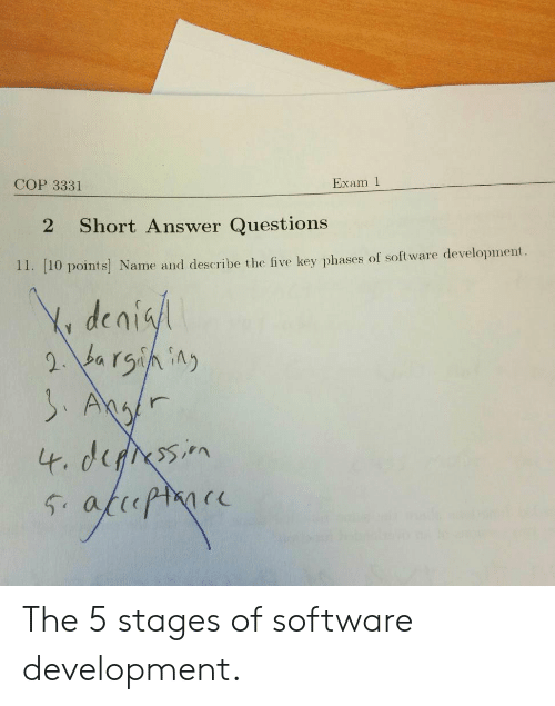 Software, Answer, and Questions: Exam 1  COP 3331  Short Answer Questions  2  11. [10 points Name and describe the five key phases of software development  Y denisl  2 barsining  SAgr  4. derssin  fhopmoce  54 The 5 stages of software development.
