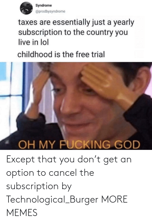 burger: Except that you don't get an option to cancel the subscription by Technological_Burger MORE MEMES