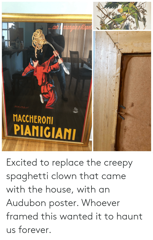 Creepy: Excited to replace the creepy spaghetti clown that came with the house, with an Audubon poster. Whoever framed this wanted it to haunt us forever.