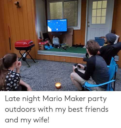 coffee lovers: exoo  td1xs  womyoupie  COFFEE LOVERS  ALUE SIZE  Cofee  The  AUPUL  Original  Ouve  Canden Late night Mario Maker party outdoors with my best friends and my wife!