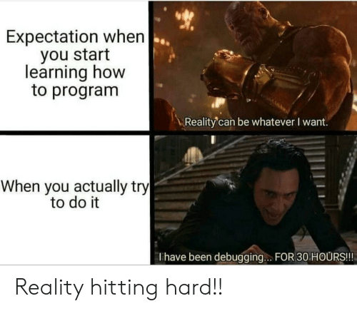 expectation: Expectation when  you start  learning how  to program  Reality'can be whatever I want.  When you actually try  to do it  Thave been debugging.. FOR 30 HOURS!!! Reality hitting hard!!