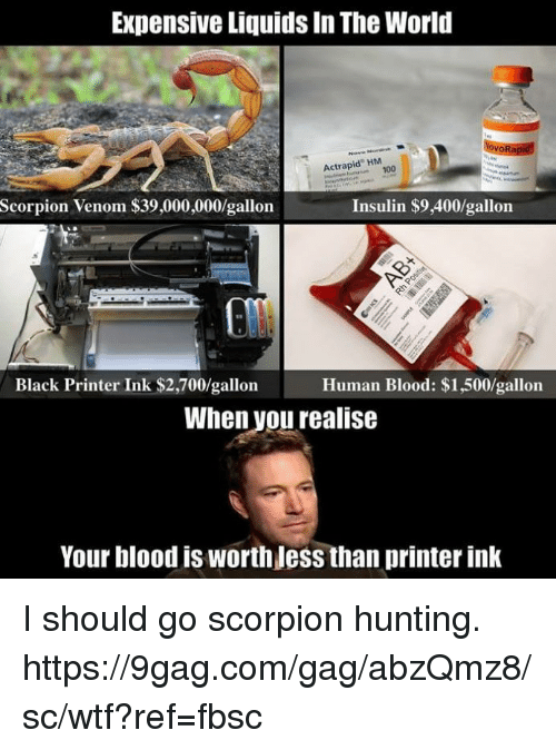 9gag, Anaconda, and Dank: Expensive Liquids In The World  vo  Actrapid HM  100  Scorpion Venom $39,000,000/gallon  Insulin $9,400/gallorn  Black Printer Ink $2,700/gallon  Human Blood: $1,500/gallon  When vou realise  Your blood is worth Jess than printer ink I should go scorpion hunting. https://9gag.com/gag/abzQmz8/sc/wtf?ref=fbsc