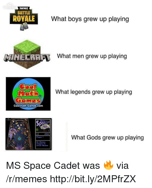 Memes, Games, and Http: EXPRES  FORTNITE  BATTLE  ROYALE  What boys grew up playing  HECRAF  What men grew up playing  What legends grew up playing  Coolmath-Games.com  3D Pinb  BALL 1  9500  What Gods grew up playing  Plaver 1  Hit Mission  Torgets To  Seleet Mission MS Space Cadet was 🔥 via /r/memes http://bit.ly/2MPfrZX