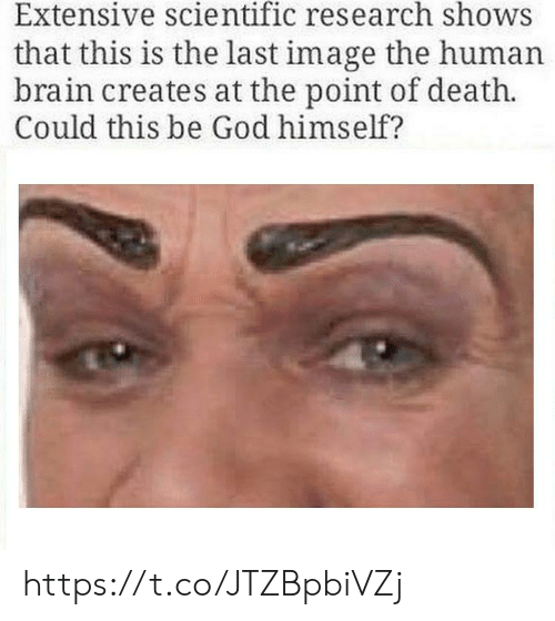 extensive: Extensive scientific research shows  that this is the last image the human  brain creates at the point of death.  Could this be God himself? https://t.co/JTZBpbiVZj