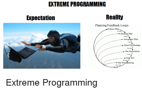 Expectation Reality: EXTREME PROGRAMMING  Expectation  Reality  Planning/Feedback Loops  Release Plan  Months  Iteration Plan  Weeks  Acceptance Test  Days  Stand Up Meeting  One Day  Pair Negotiation  Hours  Unit Test  Minutes  Pair Programming  Seconds  Code Extreme Programming