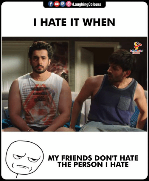 Friends, Indianpeoplefacebook, and Person: f。画③/LaughingColours  I HATE IT WHEN  MY FRIENDS DON'T HATE  THE PERSON I HATE