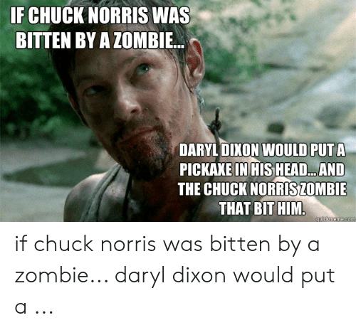 Chuck Norris, Head, and Zombie: F CHUCK NORRIS WAS  BITTEN BY A ZOMBIE.  DARYL DIKON WOULD PUT A  PICKAXE IN HIS HEAD...AND  THE CHUCK NORRİSZOMBIE  THAT BITHIM if chuck norris was bitten by a zombie... daryl dixon would put a ...