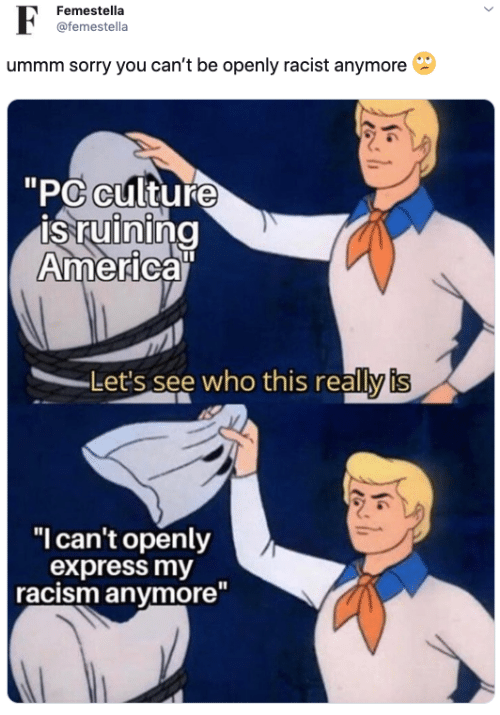 """Ummm: F  Femestella  @femestella  ummm sorry you can't be openly racist anymore  """"PC culture  is ruining  America""""  Let's see who this really is  """"I can't openly  express my  racism anymore"""""""