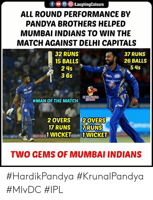 wicket: f/LaughingColours  ALL ROUND PERFORMANCE BY  PANDYA BROTHERS HELPED  MUMBAI INDIANS TO WIN THE  MATCH AGAINST DELHI CAPITALS  32 RUNS  15 BALLS  2 4s  36s  37 RUNS  26 BALLS  54S  #MAN OF THE MATCH  2 OVERS 20VERS  17 RUNS 7RUNS  WICKET1 WICKET  TWO GEMS OF MUMBAI INDIANS #HardikPandya #KrunalPandya #MIvDC #IPL
