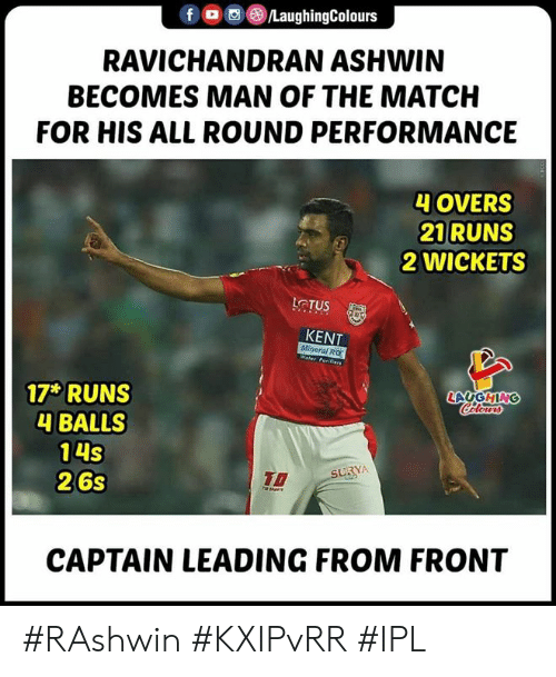 Match, Indianpeoplefacebook, and Ipl: f , , )/LaughingColours  RAVICHANDRAN ASHWIN  BECOMES MAN OF THE MATCH  FOR HIS ALL ROUND PERFORMANCE  4 OVERS  21 RUNS  2 WICKETS  LCTUS  KENT  Mineral RO  LAUGHING  17 RUNS  4 BALLS  14S  26s  To  CAPTAIN LEADING FROM FRONT #RAshwin #KXIPvRR #IPL