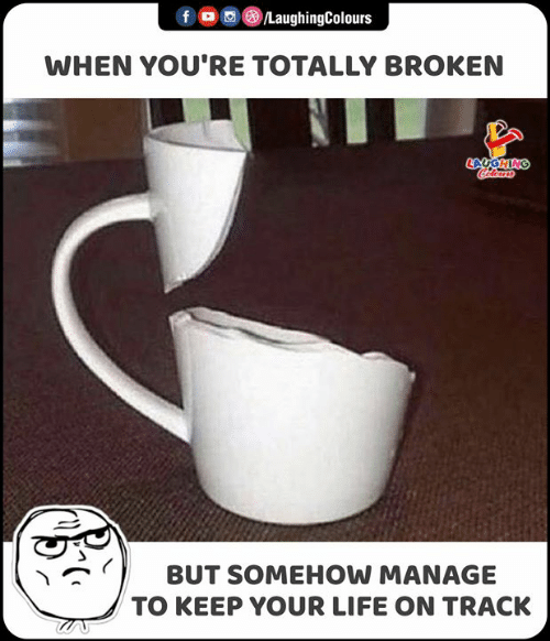Life, Indianpeoplefacebook, and Youre: f /LaughingColours  WHEN YOU'RE TOTALLY BROKEN  CAUGHING  Colours  BUT SOMEHOW MANAGE  TO KEEP YOUR LIFE ON TRACK