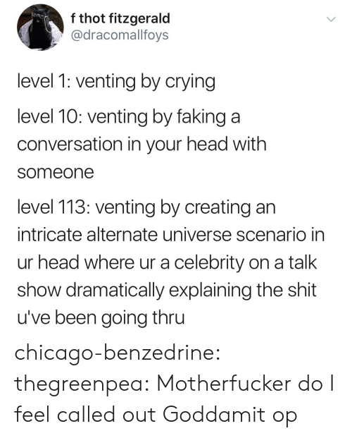 creating: f thot fitzgerald  @dracomallfoys  level 1: venting by crying  level 10: venting by faking a  conversation in your head with  someone  level 113: venting by creating an  intricate alternate universe scenario in  ur head where ur a celebrity on a talk  show dramatically explaining the shit  u've been going thru chicago-benzedrine: thegreenpea:  Motherfucker do I feel called out   Goddamit op