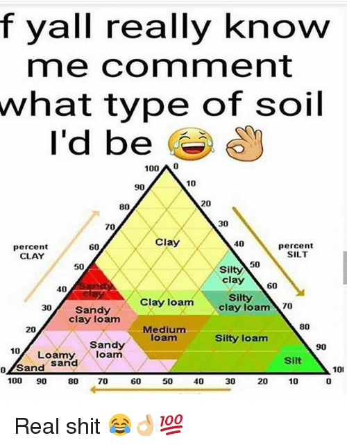 Anaconda, Memes, and Shit: f yall really know  me comment  what  type of soil  I'd be O  100 A 0  10  90  20  80  30  70  Clay  40  percent  CLAY  percent  SILT  60  50  50  Silty  clay \ 60  40  Silty  clay loam 70  30 Sandy  Clay loam  clay loam  80  Medium  loam  20  Silty loam  Sandy  Loamy,loam  90  10  Silt  o/Sand Sarnd  101  0  100 90 80 70  60  50  40  30  20  10 Real shit 😂👌🏼💯