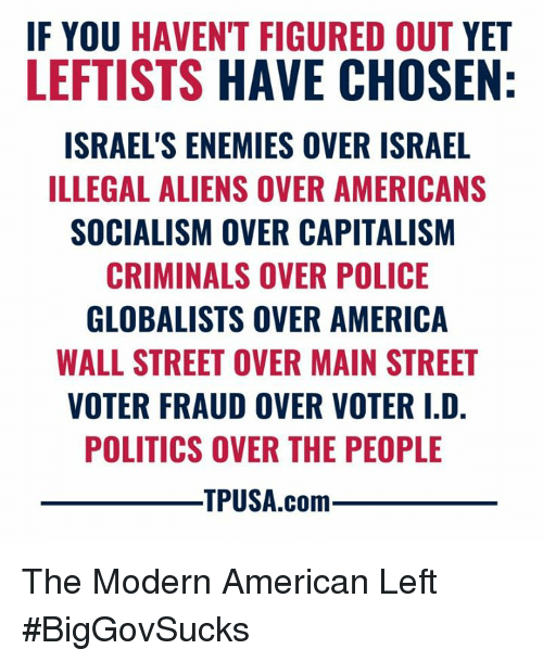 wall street: F YOU HAVEN'T FIGURED OUT YET  LEFTISTS HAVE CHOSEN  ISRAEL'S ENEMIES OVER ISRAEL  ILLEGAL ALIENS OVER AMERICANS  SOCIALISM OVER CAPITALISM  CRIMINALS OVER POLICE  GLOBALISTS OVER AMERICA  WALL STREET OVER MAIN STREET  VOTER FRAUD OVER VOTER I.D  POLITICS OVER THE PEOPLE  TPUSA.com The Modern American Left #BigGovSucks