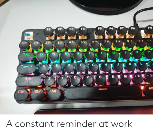reminder: F9  F7  F5  F6  F8  F4  F2  F3  8 * 9 ( 0 )  3 #  Tab  CapsLk  Shift  Alt  Alt  Ctrl A constant reminder at work