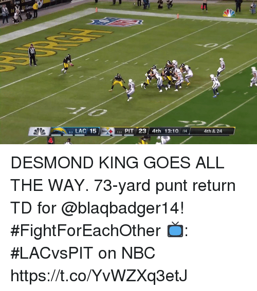 Memes, All The, and 🤖: FA  0  LAC 15  731 PIT 23 4th 13:10 14  4th & 24  8-3  4 DESMOND KING GOES ALL THE WAY.  73-yard punt return TD for @blaqbadger14! #FightForEachOther  📺: #LACvsPIT on NBC https://t.co/YvWZXq3etJ