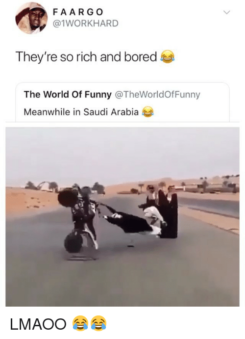 Bored, Funny, and Saudi Arabia: FAARG O  @1WORKHARD  They're so rich and bored  The World Of Funny @TheWorldOfFunny  Meanwhile in Saudi Arabia LMAOO 😂😂