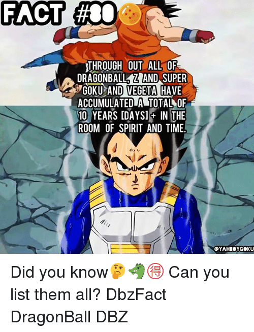 Gokue: FACT  #80  THROUGH OUT ALL OF  DRAGONBALLZAND SUPER  GOKU AND VEGETA HAVE  ACCUMULATEDLA TOTAL OF  10 YEARS IDAYSI IN THE  ROOM OF SPIRIT AND TIME  OYAHBOYGOKU Did you know🤔🐲🉐 Can you list them all? DbzFact DragonBall DBZ