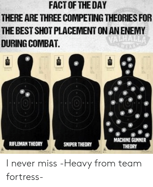 placement: FACT OF THE DAY  THERE ARE THREE COMPETING THEORIES FOR  THE BEST SHOT PLACEMENT ON AN ENEMY  VALHALLA  DURING COMBAT.  MACHINE GUNNER  RIFLEMAN THEORY  SNIPER THEORY  THEORY I never miss -Heavy from team fortress-