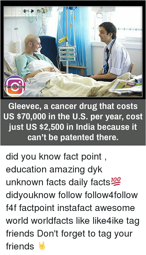 Memes, 🤖, and Patent: Fact Point  Gleevec, a cancer drug that costs  US $70,000 in the U.S. per year, cost  just US $2,500 in India because it  can't be patented there. did you know fact point , education amazing dyk unknown facts daily facts💯 didyouknow follow follow4follow f4f factpoint instafact awesome world worldfacts like like4ike tag friends Don't forget to tag your friends 🤘