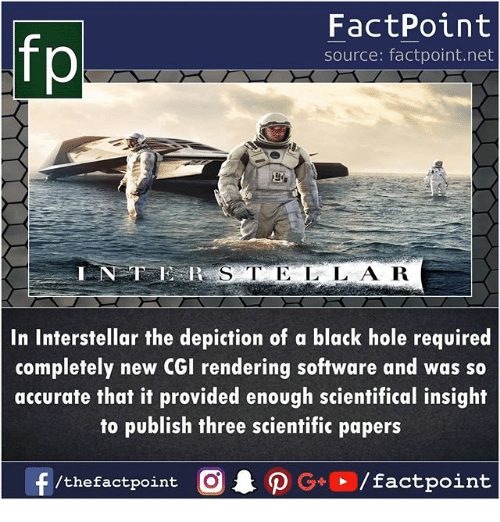 Interstellar: FactPoint  source: factpoint.net  In Interstellar the depiction of a black hole required  completely new CGI rendering software and was so  accurate that it provided enough scientifical insight  to publish three scientific papers  f/thefactpoint O·P G . / factpoint