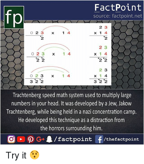 Nazy: FactPoint  source: factpoint.net  O 2 3  2  2 3  x 1 4  2  x14  2 3  0 2 3 x 1 4  2 '2  0 2 3  3 2 2  2 3  x 1 4  3 2 2  x1 4  Trachtenberg speed math system used to multiply large  numbers in your head. It was developed by a Jew, Jakow  Trachtenberg, while being held in a nazi concentration camp.  He developed this technique as a distraction from  the horrors surrounding him. Try it 😯