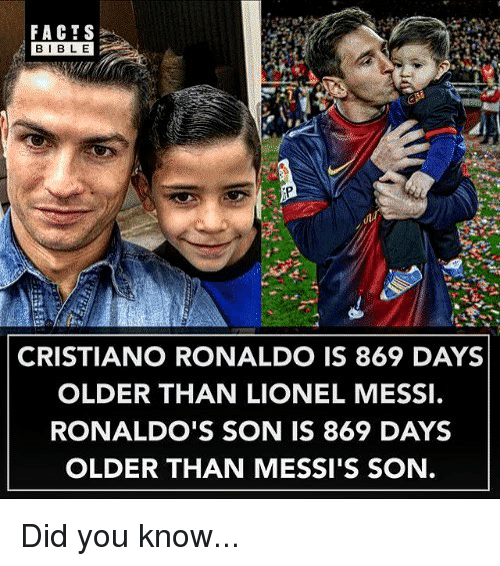 Cristiano Ronaldo, Facts, and Memes: FACTS  BIBLE  CRISTIANO RONALDO IS 869 DAYS  OLDER THAN LIONEL MESSI  RONALDO'S SON IS 869 DAYS  OLDER THAN MESSI'S SON. Did you know...