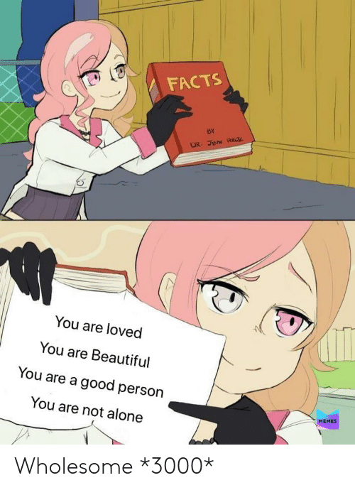 Being Alone, Beautiful, and Facts: FACTS  BY  DR. JINN REK  You are loved  You are Beautiful  You are a good person  You are not alone  MEMES Wholesome *3000*