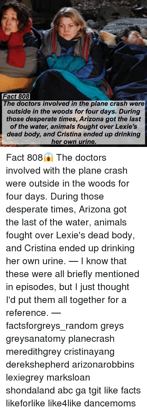 Abc, Animals, and Desperate: Facts forgreys  Fact 808  The doctors involved in the plane crash were  outside in the woods for four days. During  those desperate times, Arizona got the last  of the water, animals fought over Lexie's  dead body, and Cristina ended up drinking  her own urine Fact 808😱 The doctors involved with the plane crash were outside in the woods for four days. During those desperate times, Arizona got the last of the water, animals fought over Lexie's dead body, and Cristina ended up drinking her own urine. — I know that these were all briefly mentioned in episodes, but I just thought I'd put them all together for a reference. — factsforgreys_random greys greysanatomy planecrash meredithgrey cristinayang derekshepherd arizonarobbins lexiegrey marksloan shondaland abc ga tgit like facts likeforlike like4like dancemoms