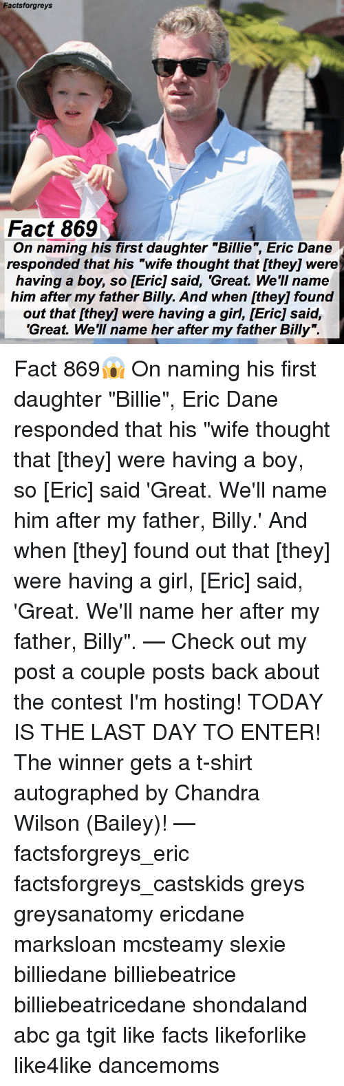 """Conteste: Factsforgreys  Fact 869  g his first daughter """"Billie, Eric Dane  On naming his first daughter """"Billie"""", Eric Dane  responded that his """"wife thought that [they] were  having a boy, so [Eric] said, 'Great. We'II name  him after my father Billy. And when [they] found  out that [they] were having a girl, [Eric] said,  'Great. We'll name her after my father Billy"""". Fact 869😱 On naming his first daughter """"Billie"""", Eric Dane responded that his """"wife thought that [they] were having a boy, so [Eric] said 'Great. We'll name him after my father, Billy.' And when [they] found out that [they] were having a girl, [Eric] said, 'Great. We'll name her after my father, Billy"""". — Check out my post a couple posts back about the contest I'm hosting! TODAY IS THE LAST DAY TO ENTER! The winner gets a t-shirt autographed by Chandra Wilson (Bailey)! — factsforgreys_eric factsforgreys_castskids greys greysanatomy ericdane marksloan mcsteamy slexie billiedane billiebeatrice billiebeatricedane shondaland abc ga tgit like facts likeforlike like4like dancemoms"""