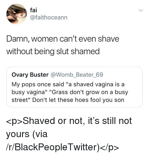 """Blackpeopletwitter, Hoes, and Vagina: fai  @faithoceann  Damn, women can't even shave  without being slut shamed  Ovary Buster @Womb_Beater_69  My pops once said """"a shaved vagina is a  busy vagina"""" """"Grass don't grow on a busy  street"""" Don't let these hoes fool you son <p>Shaved or not, it's still not yours (via /r/BlackPeopleTwitter)</p>"""