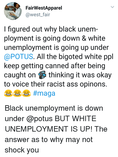 Canned: FairWestApparel  @west_fair  I figured out why black unem  ployment is going down & white  unemployment is going up under  @POTUS. All the bigoted white ppl  keep getting canned after being  caught on thinking it was okay  to voice their racist ass opinons Black unemployment is down under @potus BUT WHITE UNEMPLOYMENT IS UP! The answer as to why may not shock you