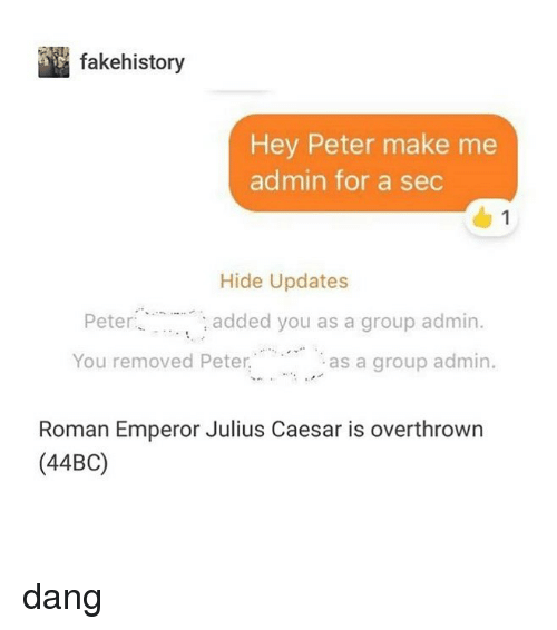 Julius Caesar: fakehistory  Hey Peter make me  admin for a sec  1  Hide Updates  : added you as a group admin.  You removed Peteras a group admin.  Roman Emperor Julius Caesar is overthrown  (44BC) dang
