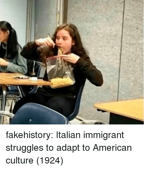 Tumblr, American, and Blog: fakehistory:  Italian immigrant struggles to adapt to American culture (1924)