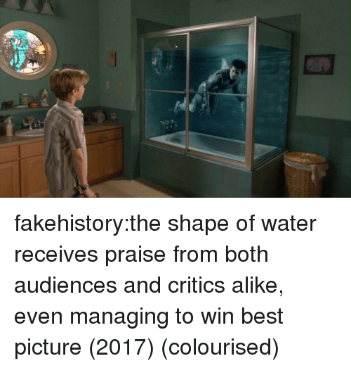 Tumblr, Best, and Blog: fakehistory:the shape of water receives praise from both audiences and critics alike, even managing to win best picture (2017) (colourised)