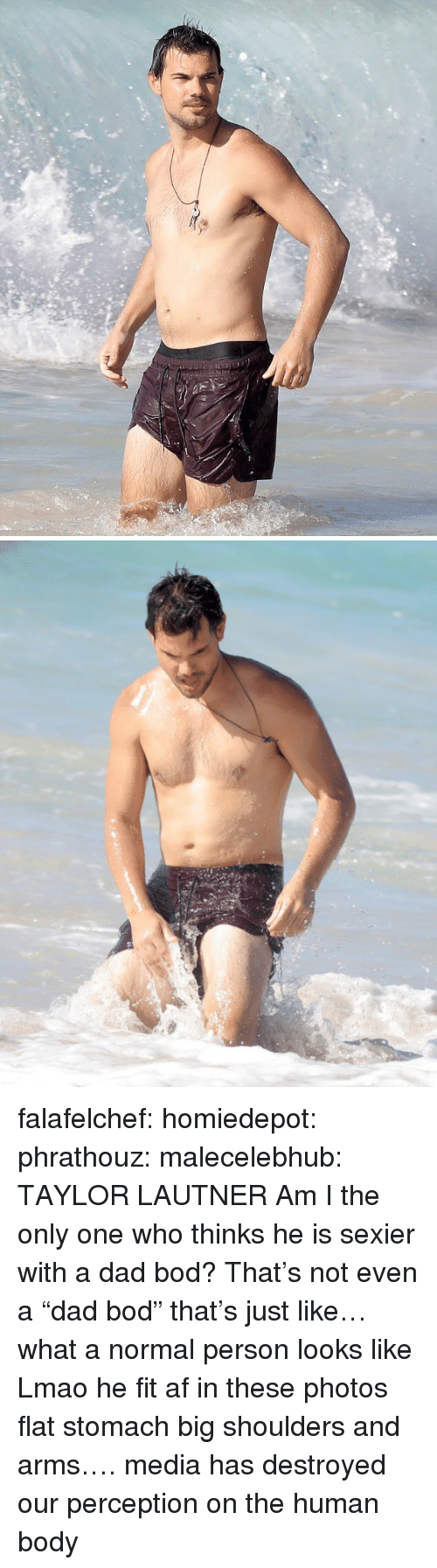 """Am I the Only One: falafelchef:  homiedepot:  phrathouz:  malecelebhub:  TAYLOR LAUTNER  Am I the only one who thinks he is sexier with a dad bod?   That's not even a """"dad bod"""" that's just like… what a normal person looks like  Lmao he fit af in these photos flat stomach big shoulders and arms…. media has destroyed our perception on the human body"""