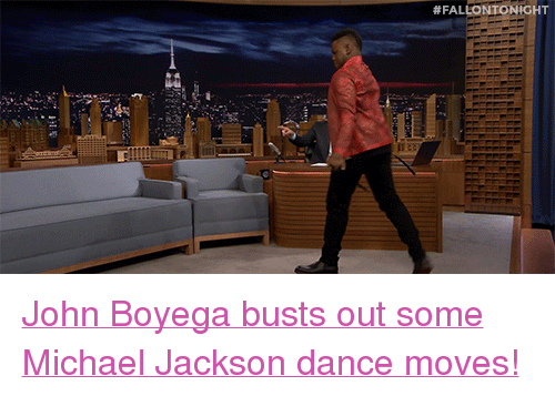 "John Boyega: <p><a href=""https://www.youtube.com/watch?v=Fh3zmz7Ravw"" target=""_blank"">John Boyega busts out some Michael Jackson dance moves!</a></p>"