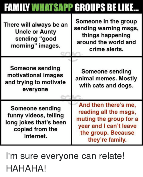 """Be Like, Cats, and Crime: FAMILY WHATSAPP GROUPS BE LIKE...  There wil always be an sending warning msgs,  Someone in the group  Uncle or Aunty  sending """"good  morning"""" images  things happening  around the world and  crime alerts  Someone sending  and trying to motivate with cats and dogs.  Someone sending  motivational images animal memes. Mostly  everyone  Someone sending  funny videos, telling  And then there's me,  reading all the msgs,  muting the group for a  long jokes that's been  copied from the  internet.  year and I can't leave  the group. Becaus  they're family. I'm sure everyone can relate! HAHAHA!"""