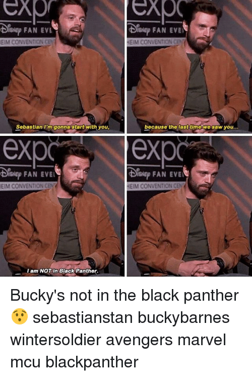 Evees: FAN EVL  Sislsp FAN EVE  EIM CONVENTION CEN  HEIM CONVENTION CE  Sobastian I'm gonnastart with you  bocause the lasttimo we saw you...  exp exp  FAN EVE  EIM CONVENTION CEN  HEIM CONVENTION CEN  I am NOT in Black Panther. Bucky's not in the black panther 😯 sebastianstan buckybarnes wintersoldier avengers marvel mcu blackpanther